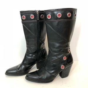 Harley-Davidson Black Leather Heeled Boots Red